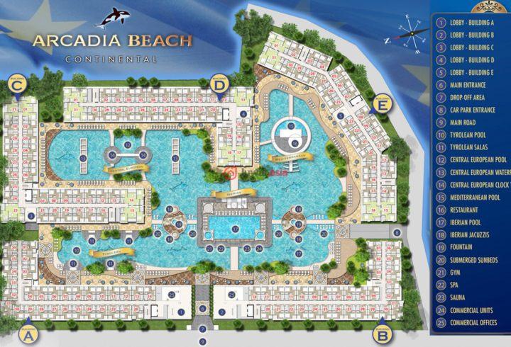【卖点】因很多客人说上次没买到包租的泳池景观房,现开发商决定再拿出二期B栋楼做包租,还剩一些泳池景观房,上次没买到的,这次请抓住机会 【3500平米超大泄湖泳池和瀑布,超60%面积的池景和人造景,栋间距长达130米,度假式公寓,庞大水系和绿化】 公寓名称:Arcadia Beach continental阿卡迪亚(二期) 项目类型:5栋8层楼永久产权公寓,共1350个单元房 离海距离:700米 完工日期:2018年底 位置:芭提雅中天 Thappraya 路 soi 9 项目面积:17600平方米 开发商